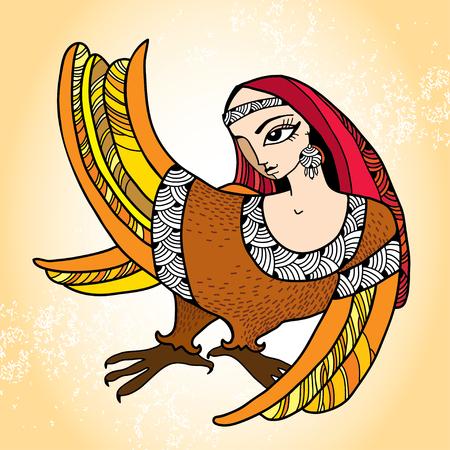 mythological: Mythological Bird with head of woman. The series of mythological creatures