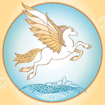 Flying Mythological Pegasus. The series of mythological creatures Illustration