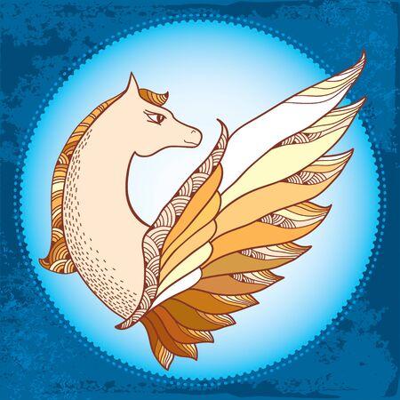 mythological: Mythological Pegasus in the round frame. The series of mythological creatures Illustration