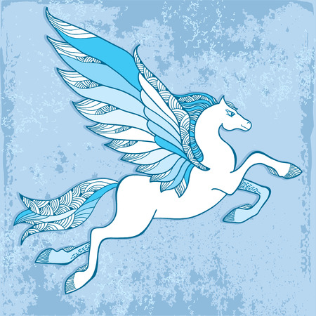 creatures: Mythological Pegasus on a blue background. The series of mythological creatures