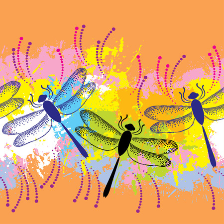 dragonflies: Seamless pattern with dotted dragonflies on the colorful blots background Illustration