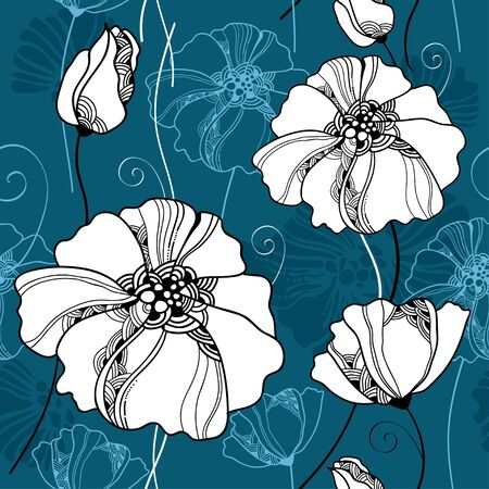 Seamless pattern with beautiful flowers on a dark background