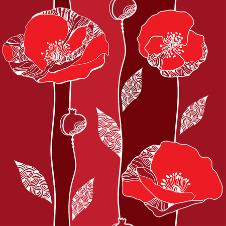 Beautiful seamless pattern with red poppies