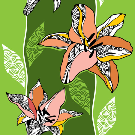 stamen: Beautiful seamless pattern with lilies on a light green background