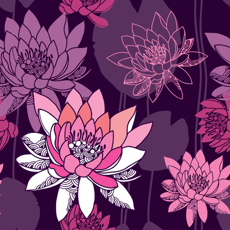 water lilies: Beautiful seamless pattern with water lilies in pink