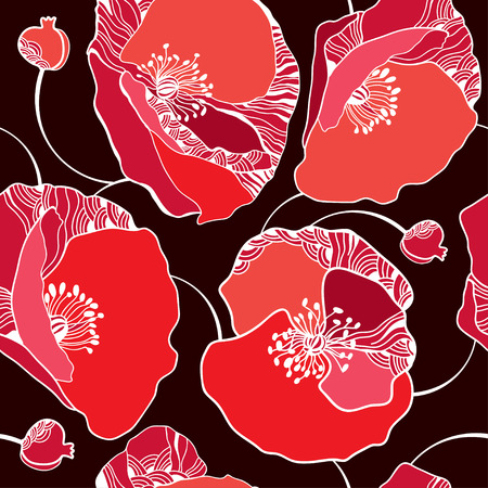 Beautiful seamless pattern with red poppies on a dark background  イラスト・ベクター素材