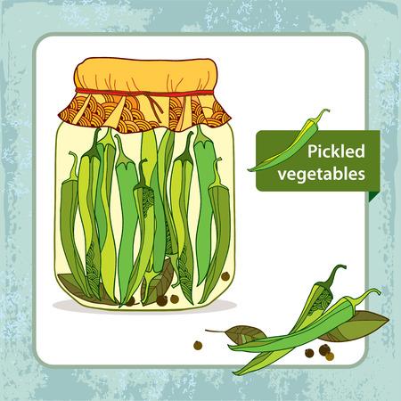 poivre noir: Piments verts marin�s dans le pot de verre avec la feuille de laurier et le poivre noir