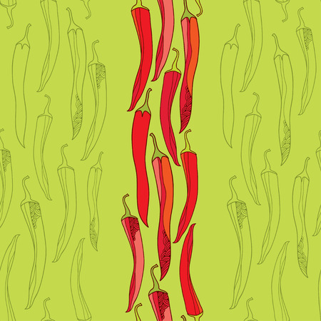 Seamless pattern with red chili peppers