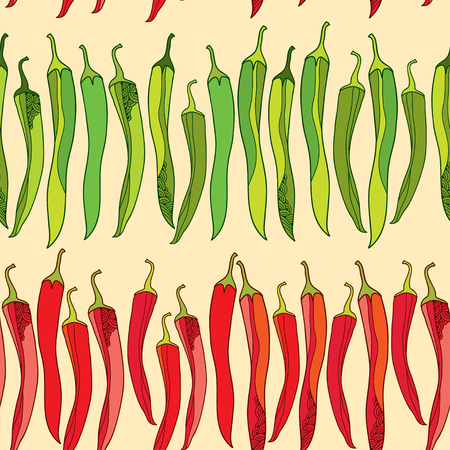 Seamless pattern with red and green chili peppers Illustration