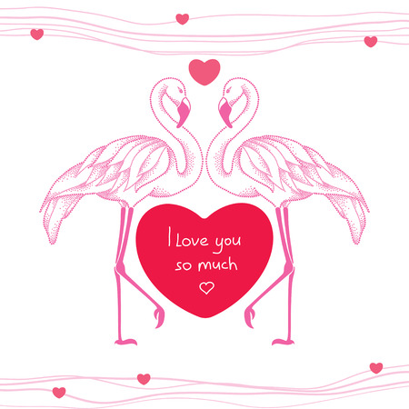 amore: Two dotted pink flamingos couple in love with red heart