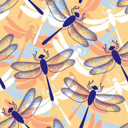 Seamless pattern with dotted dragonflies in blue