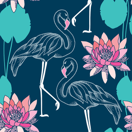 Seamless pattern with dotted flamingo and pink water lilies