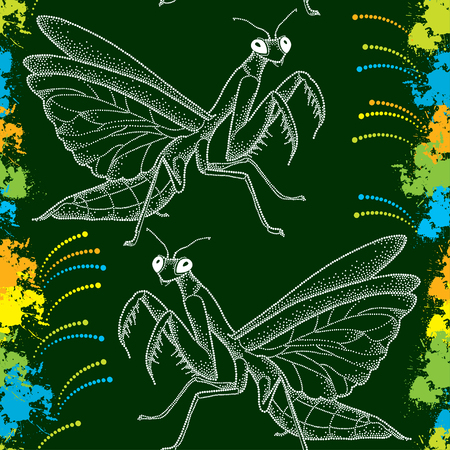 mimicry: Seamless pattern with white dotted Mantis religiosa or Praying Mantis and colorful blots