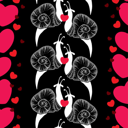 cochlea: Seamless pattern with dotted snails in white and red hearts on the black background Illustration