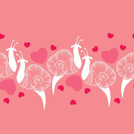 amore: Seamless pattern with dotted white snails and pink and red hearts