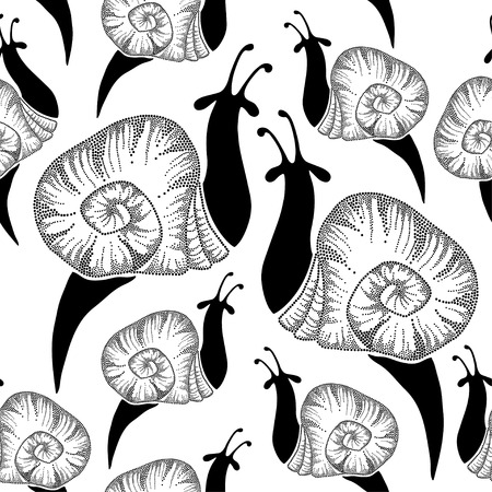 cochlea: Seamless pattern with dotted snails in black Illustration