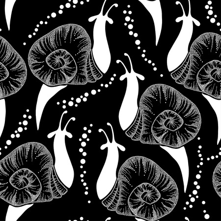 cochlea: Seamless pattern with dotted white snails and drops