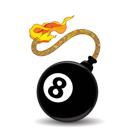 fortuna: Eight billiard ball with a burning wick ready to explode