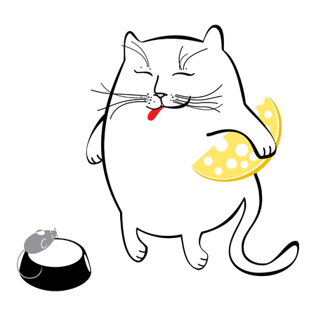 Funny cat with cheese. Series of comic cats