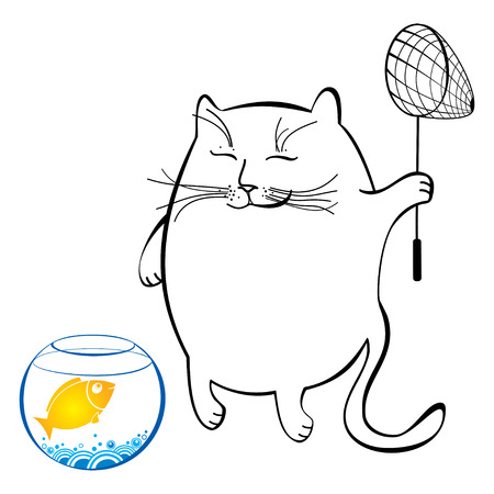 fish net: Funny cat with fish net. Series of comic cats
