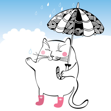 sodden: Funny cat with decorative umbrella. Series of comic cats
