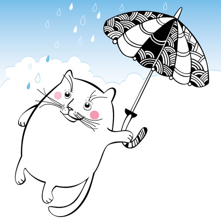 sodden: Funny cat on the umbrella. Series of comic cats