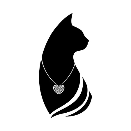coulomb: Silhouette of a cat head with a pendant around the neck Illustration
