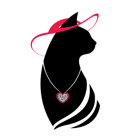coulomb: Silhouette of the head cat in the red hat