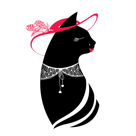 refinement: Silhouette of the cat with hat and lace collar Illustration