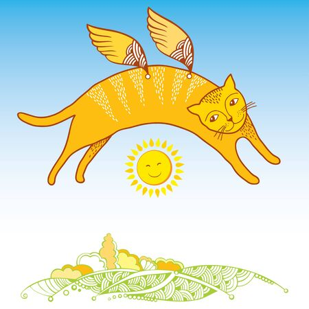 cloudless: Funny cat in orange with decorative wings over land. Series of comic cats Illustration