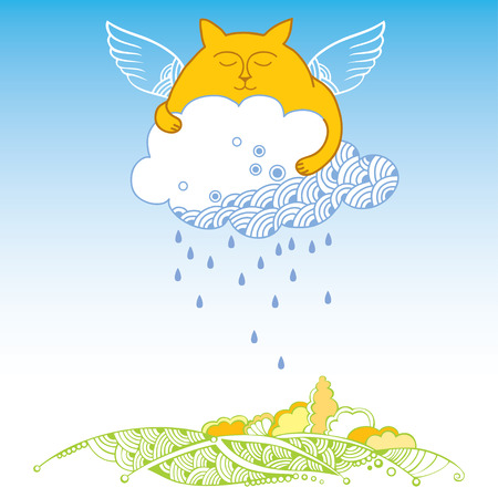 grasslands: Orange Funny cat with white rainy cloud over land. Series of comic cats