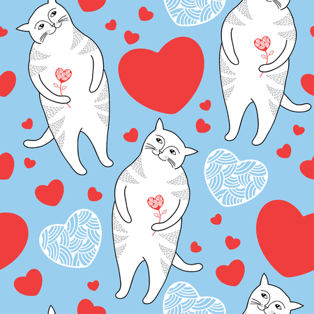 tender passion: Seamless pattern with Funny cats and red hearts. Series of comic cats Illustration