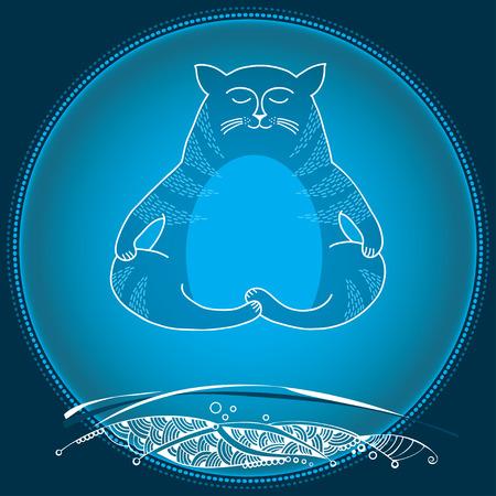Funny cat in meditation over land. Series of comic cats