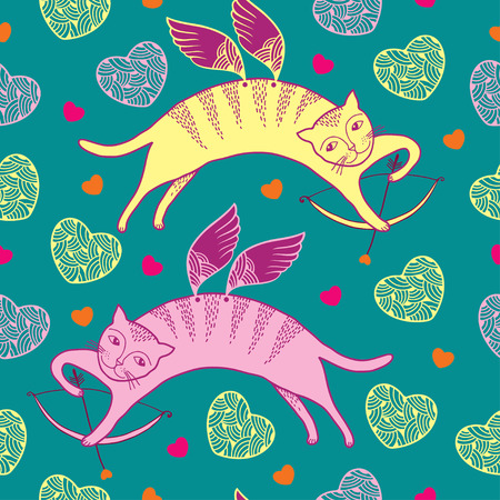 Seamless pattern with cat with wings and colorful hearts 일러스트