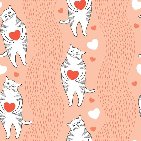 tender passion: Seamless pattern with Funny cats and orange hearts Illustration