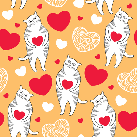 tender passion: Seamless pattern with white Funny cats and red hearts