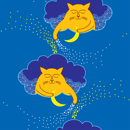 blue moon: Seamless pattern with ginger Funny cat and blue moon