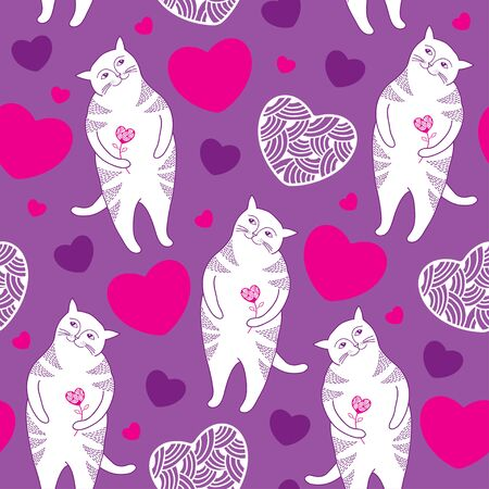 tender passion: Seamless pattern with Funny white cats and pink hearts