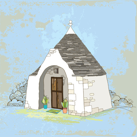 Traditional Trulli house with conical roof on the textured background