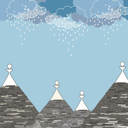 Kegelvormige daken van de Trulli huis onder regenachtige wolk