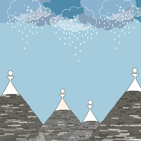 Conical roofs of the Trulli house under rainy cloud