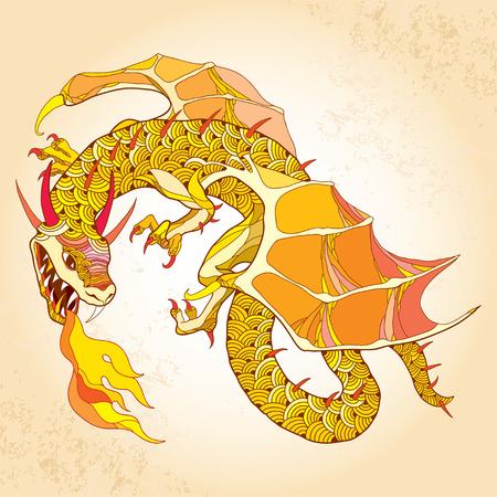 Mythological Dragon with fire on the textured beige background. The series of mythological creatures