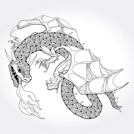 historical: Mythological fire-breathing Dragon isolated on white background. The series of mythological creatures