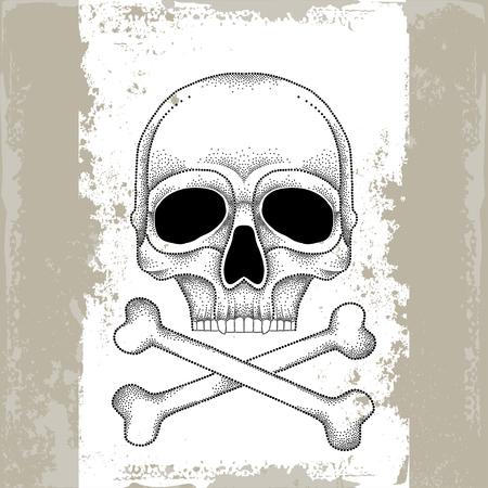 crossbones: Skull and crossbones in black on the textured beige background