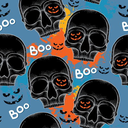 all saints day: Halloween seamless pattern with dotted skulls in black and colorful blots Illustration
