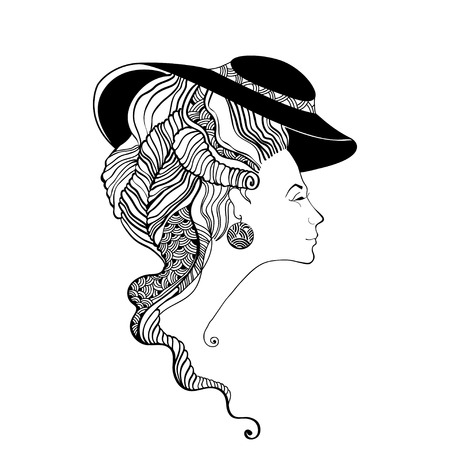 belle dame: Beautiful lady head silhouette in hat. Baroque style