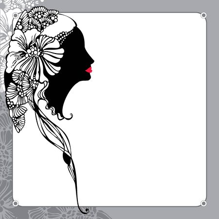 vintage lady: Vintage lady silhouette on a floral background