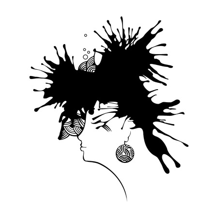 coiffure: Beautiful woman head with coiffure in blots