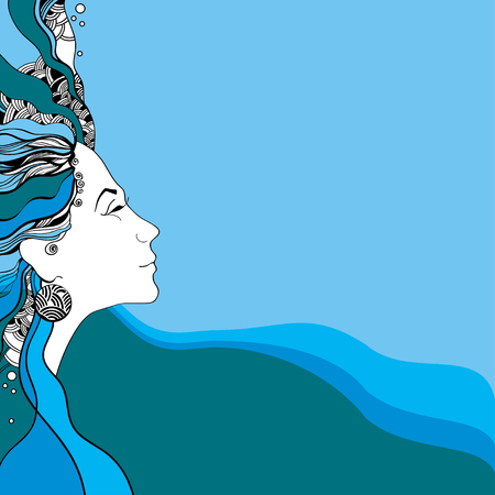 belle dame: Beautiful lady silhouette on a wavy background