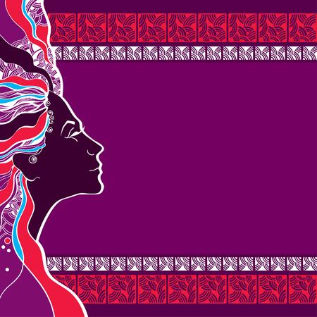 belle dame: Belle silhouette de femme sur un fond mosa�que Illustration